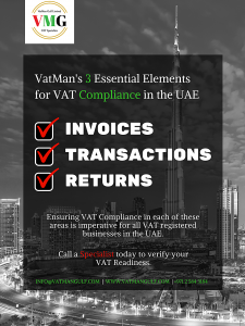 Three Essential Elements for VAT Compliance in the UAE